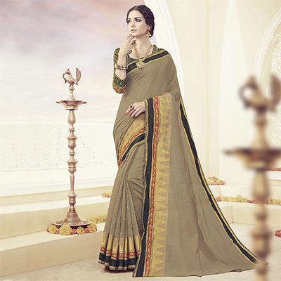 Khaki Weaving Work Traditional Design Saree
