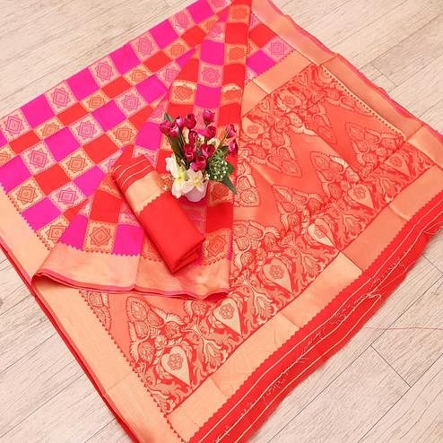 Ideal Red - Pink Colored Festive Wear Woven Art Silk Saree