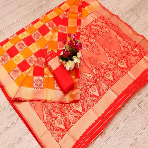 Lovely Red - Yellow Colored Festive Wear Woven Art Silk Saree