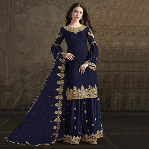 Majesty Navy Blue Colored Partywear Embroidered Rangoli Georgette Palazzo Suit