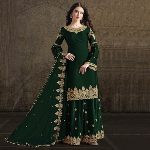 Impressive Green Colored Partywear Embroidered Rangoli Georgette Palazzo Suit