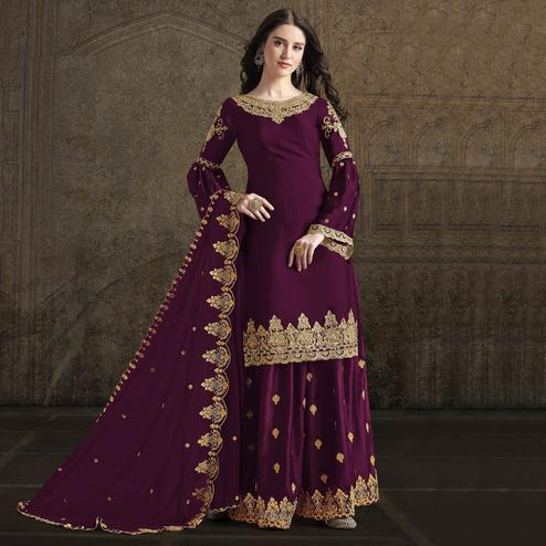Mesmerising Wine Colored Partywear Embroidered Rangoli Georgette Palazzo Suit