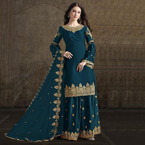 Pleasance Teal Blue Colored Partywear Embroidered Rangoli Georgette Palazzo Suit