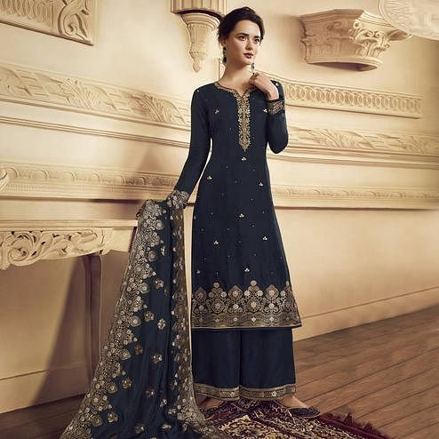 Breathtaking Navy Blue Colored Partywear Embroidered Crepe Straight Suit