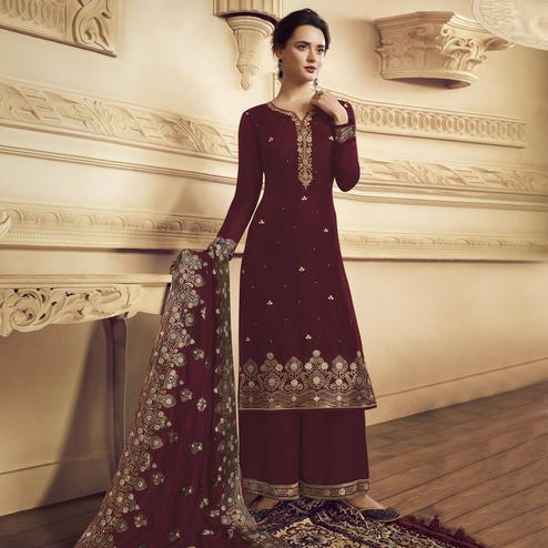 Ethnic Maroon Colored Partywear Embroidered Crepe Straight Suit