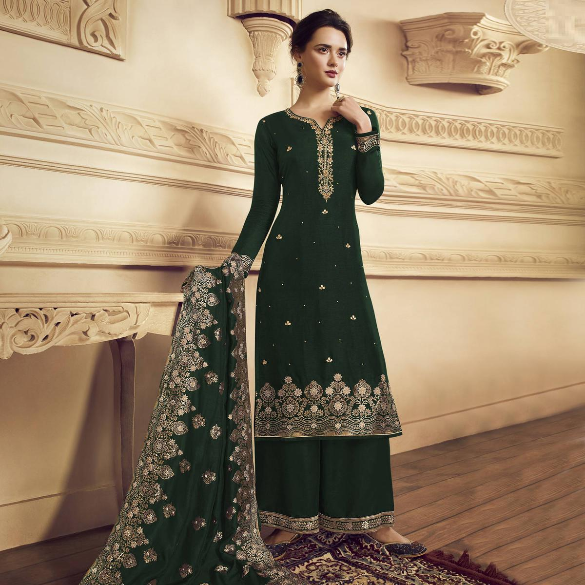 Ravishing Green Colored Partywear Embroidered Crepe Straight Suit