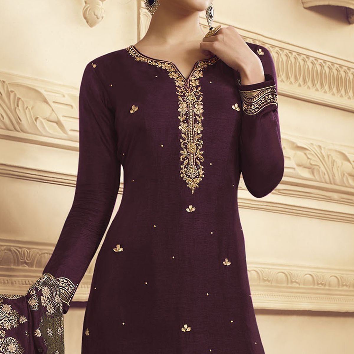Staring Purple Colored Partywear Embroidered Crepe Straight Suit