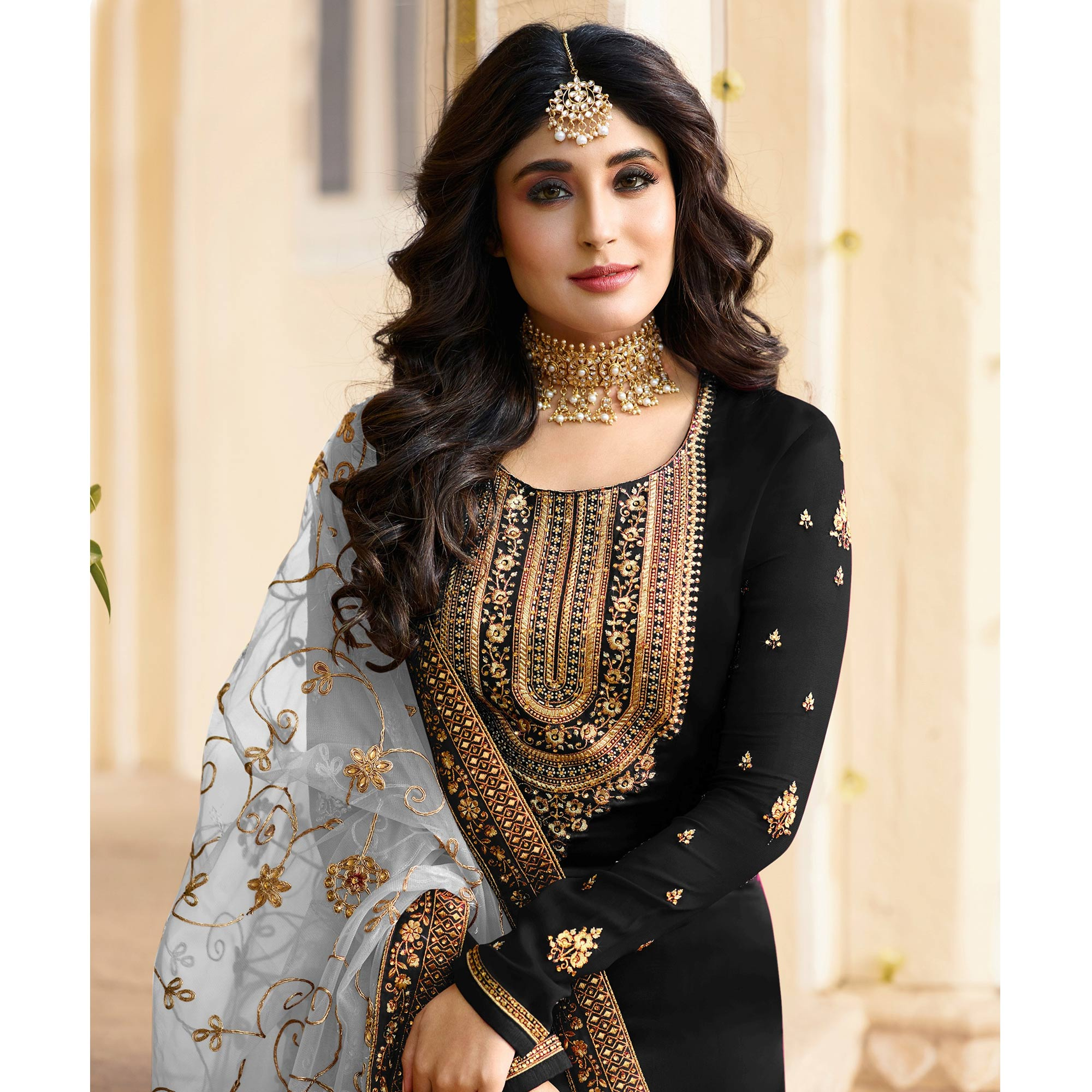 Intricate Black Colored Partywear Embroidered Georgette Satin Suit