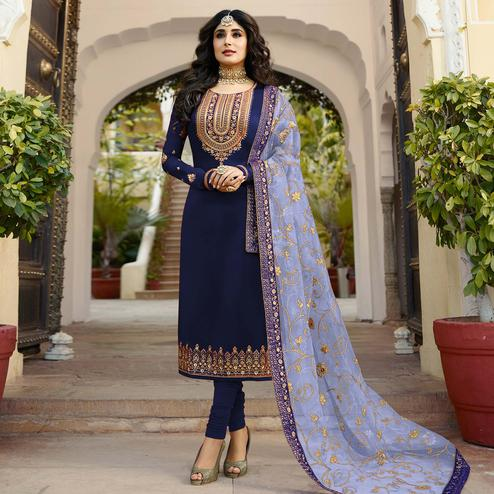 Arresting Navy Blue Colored Partywear Embroidered Georgette Satin Suit
