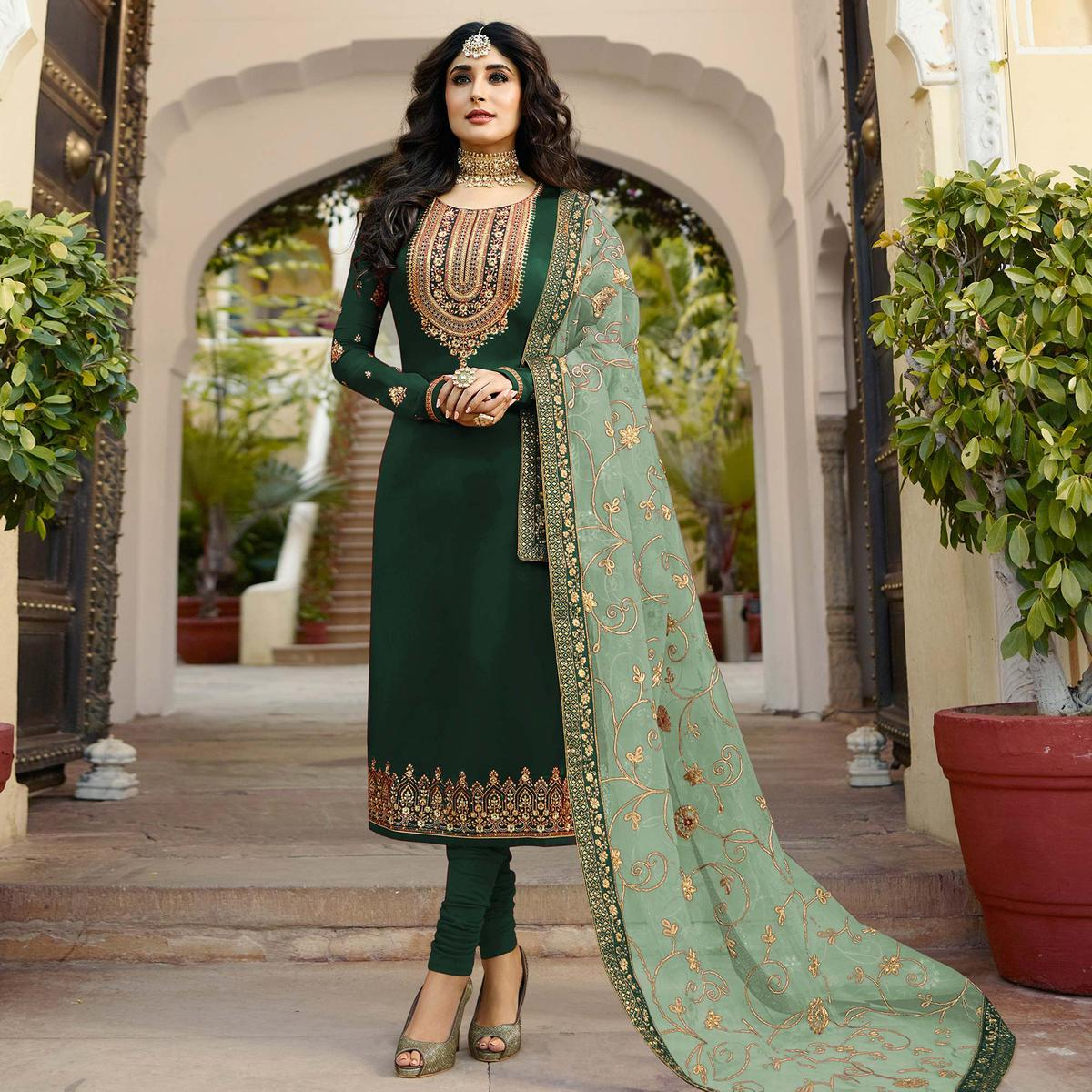 Desirable Green Colored Partywear Embroidered Georgette Satin Suit