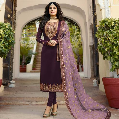 Exotic Purple Colored Partywear Embroidered Georgette Satin Suit