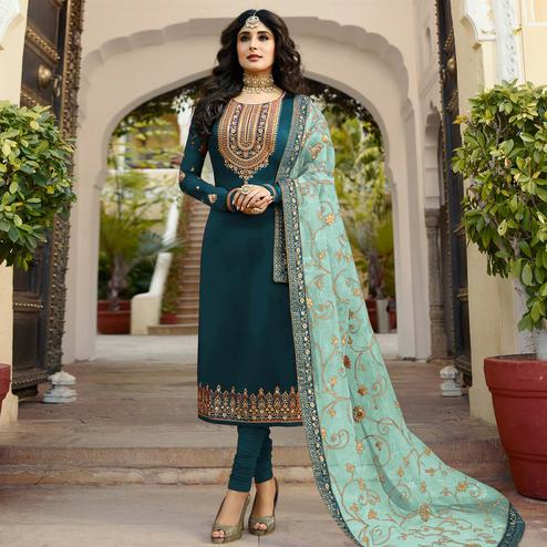 Sophisticated Teal Blue Colored Partywear Embroidered Georgette Satin Suit