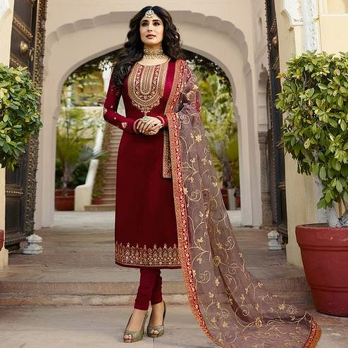 Trendy Red Colored Partywear Embroidered Georgette Satin Suit