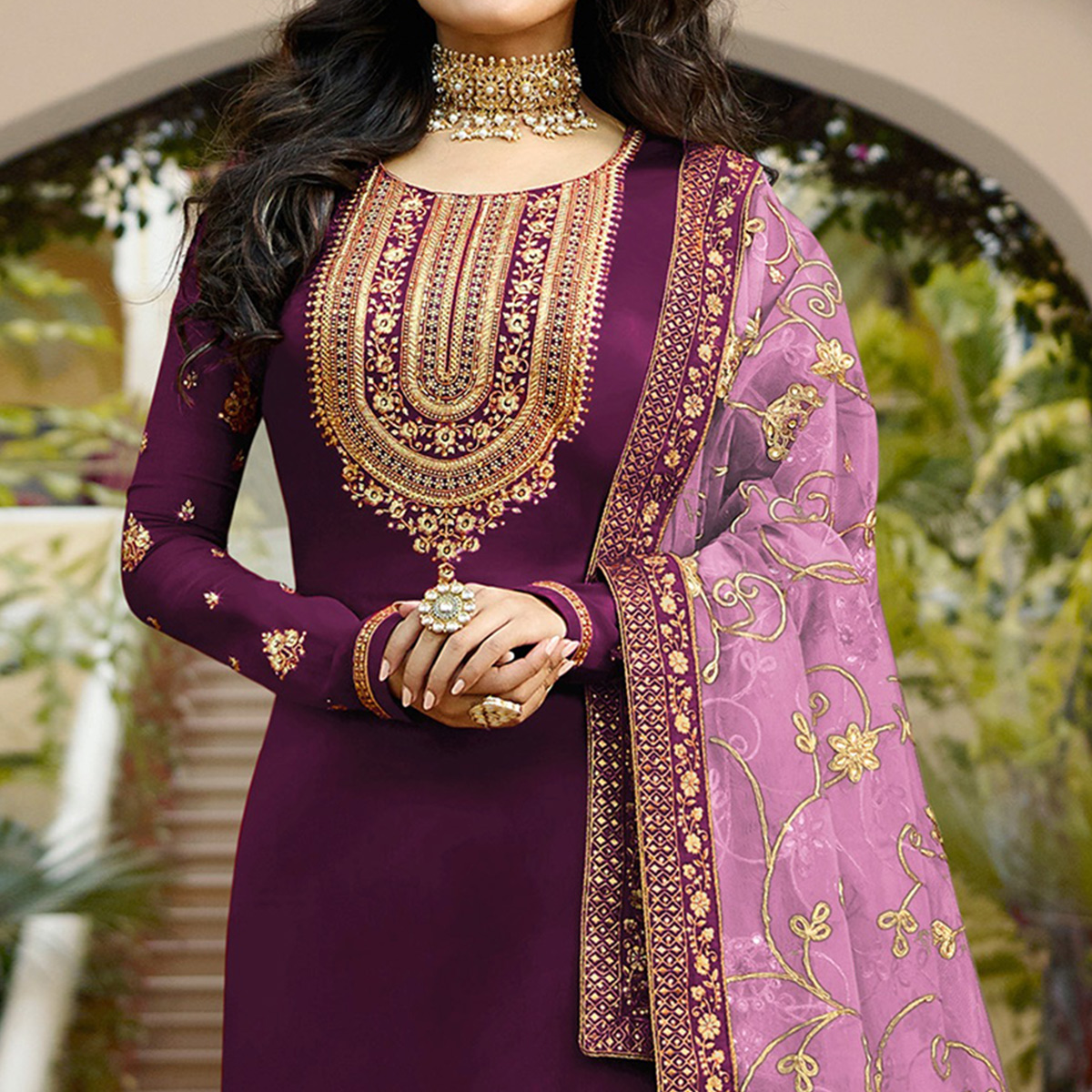 Elegant Violet Colored Partywear Embroidered Georgette Satin Suit