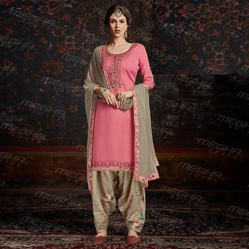 Energetic Pink Colored Partywear Embroidered Patiyala Jam Satin Cotton Suit