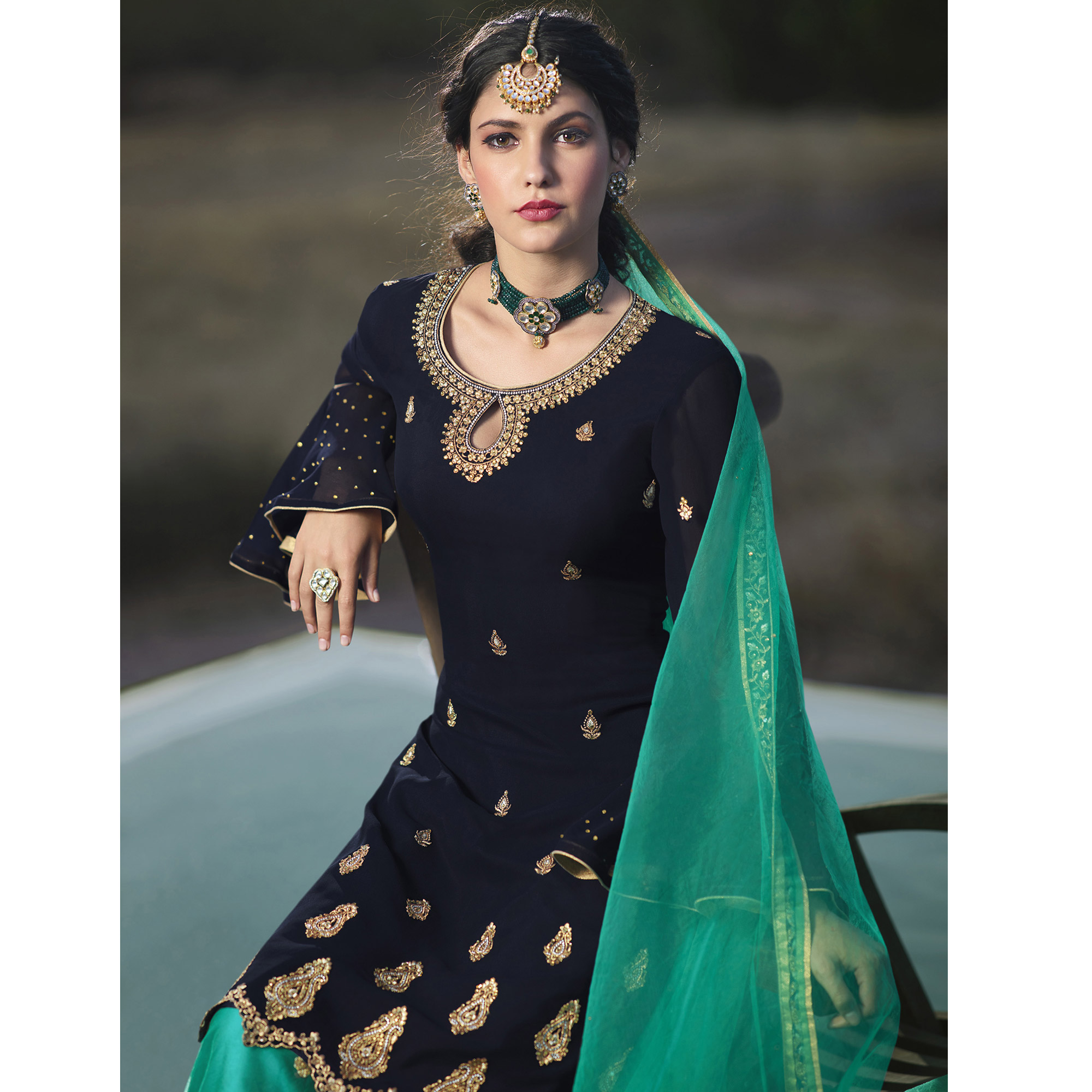 Refreshing Blue Colored Designer Partywear Embroidered Faux Georgette Lehenga Kameez