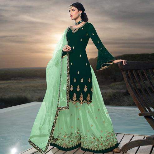 Magnetic Green Colored Designer Partywear Embroidered Faux Georgette Lehenga Kameez