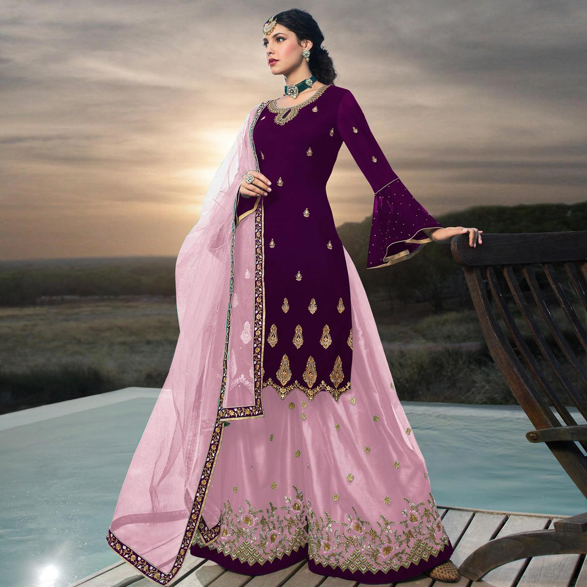 Hypnotic Purple Colored Designer Partywear Embroidered Faux Georgette Lehenga Kameez