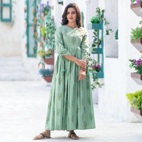 Marvellous Moss Green Colored Partywear Digital Printed Pure Muslin Gown