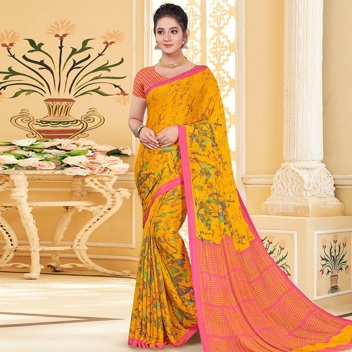 Adorable Yellow Colored Casual Wear Printed Chiffon Saree