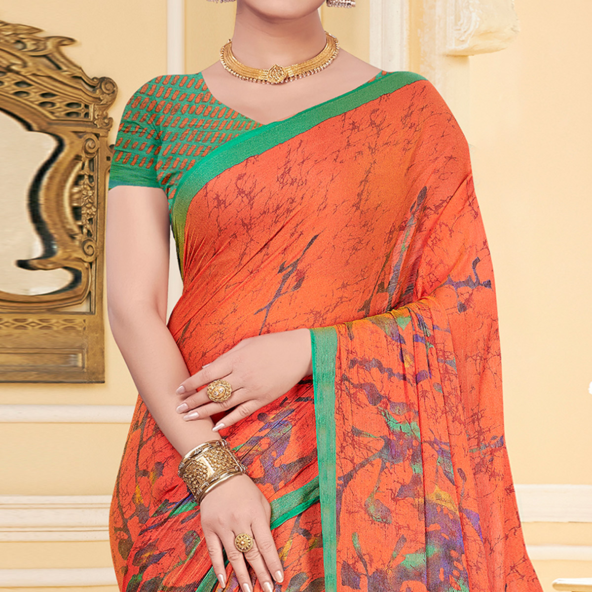 Beautiful Orange Colored Casual Wear Printed Chiffon Saree
