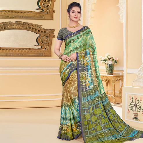 Charming Green - Multi Colored Casual Wear Printed Chiffon Saree