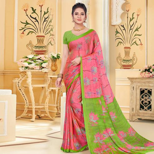 Delightful Pink Colored Casual Wear Printed Chiffon Saree
