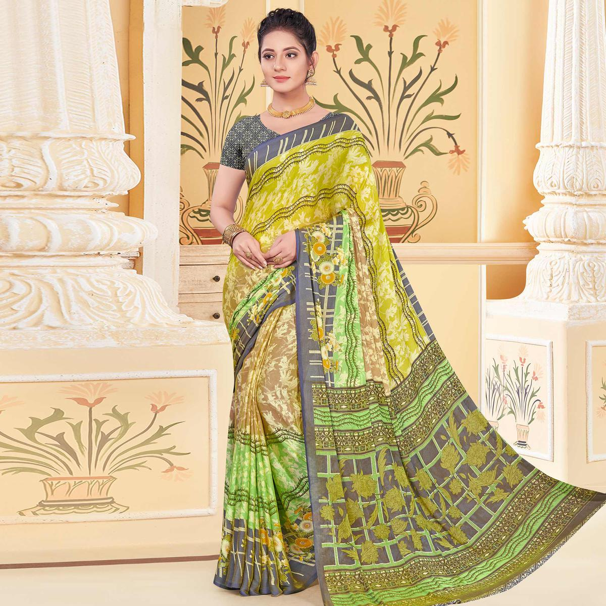 Engrossing Green - Multi Colored Casual Wear Printed Chiffon Saree
