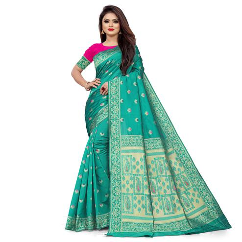 Globon Impex - Turquoise Green Colored Festive Wear Woven Banarasi Silk Saree