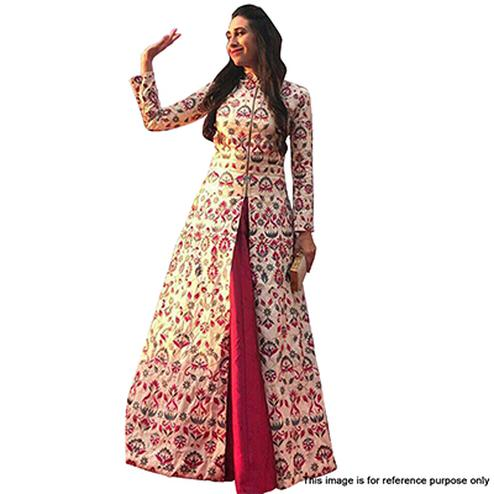 Elegant Off-White And Maroon Designer Embroidered Legenga Kameez
