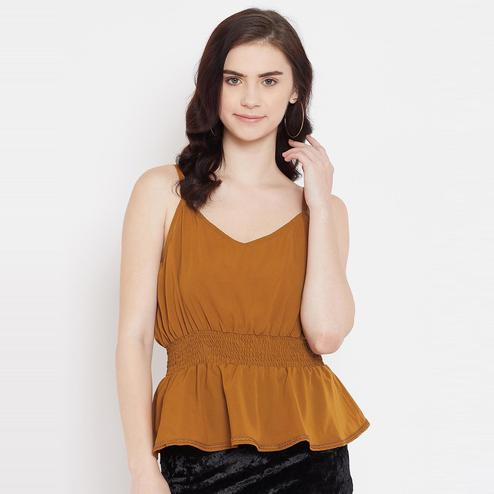 Lucero - Mustard Colored Casual Smocking And Lace Detailing Polyester Top