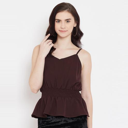 Lucero - Brown Colored Casual Smocking And Lace Detailing Polyester Top