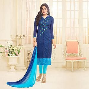Blue Embroidered Front Slit Cut Chanderi Suit