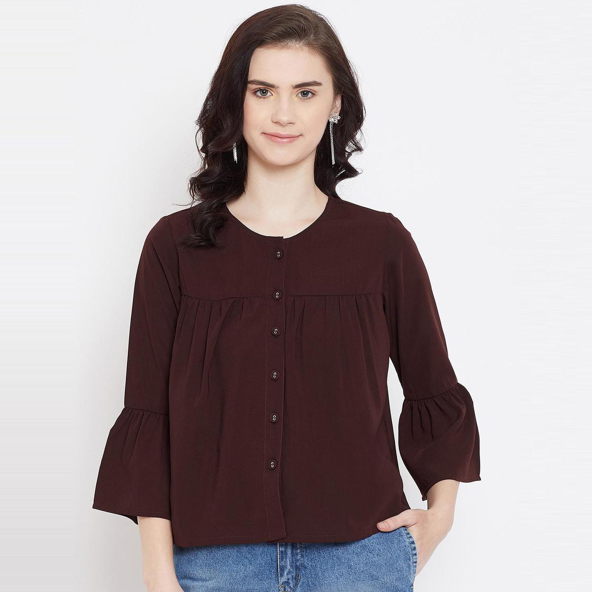 Lucero - Maroon Colored Casual Gathered Round Neck Button Down Polyester Shirt