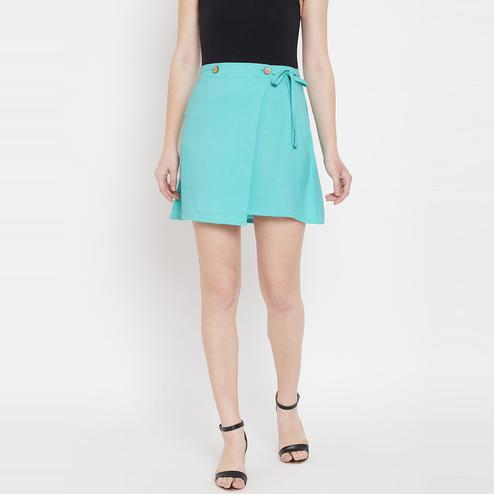 Lucero - Sky Blue Colored Casual String Cotton Wrap Skirt