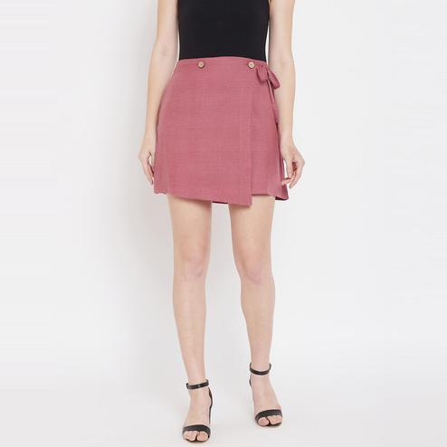 Lucero - Pink Colored Casual String Cotton Wrap Skirt