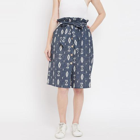 Lucero - Blue Colored Casual Printed Self Fabric Belt Button Down Cotton Skirt