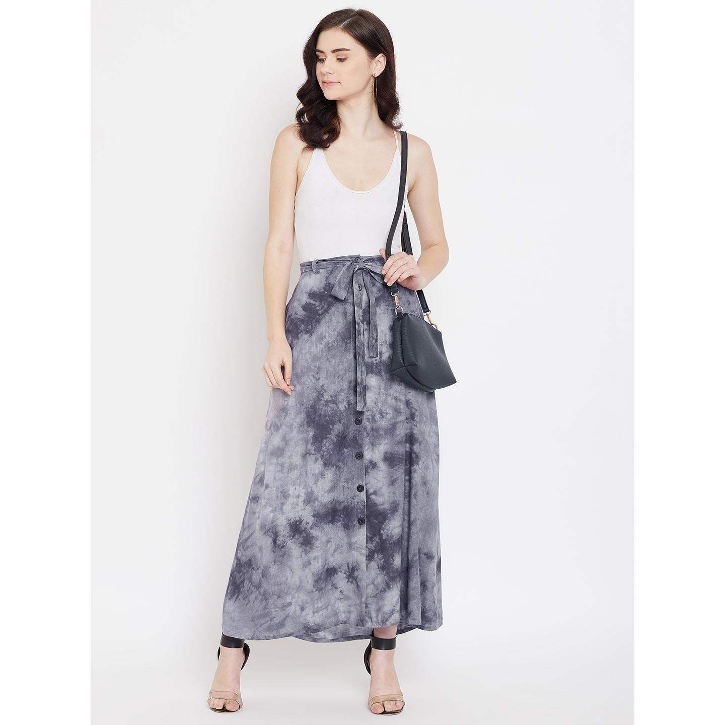 Lucero - Grey Colored Casual Printed Tie & Dye Button Self Fabric Belt Down Viscose Rayon Skirt