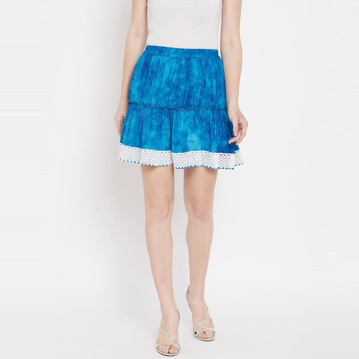 Lucero - Aqua Blue Colored Casual Printed Double Layred Lace Detailing Viscose Rayon Short Skirt