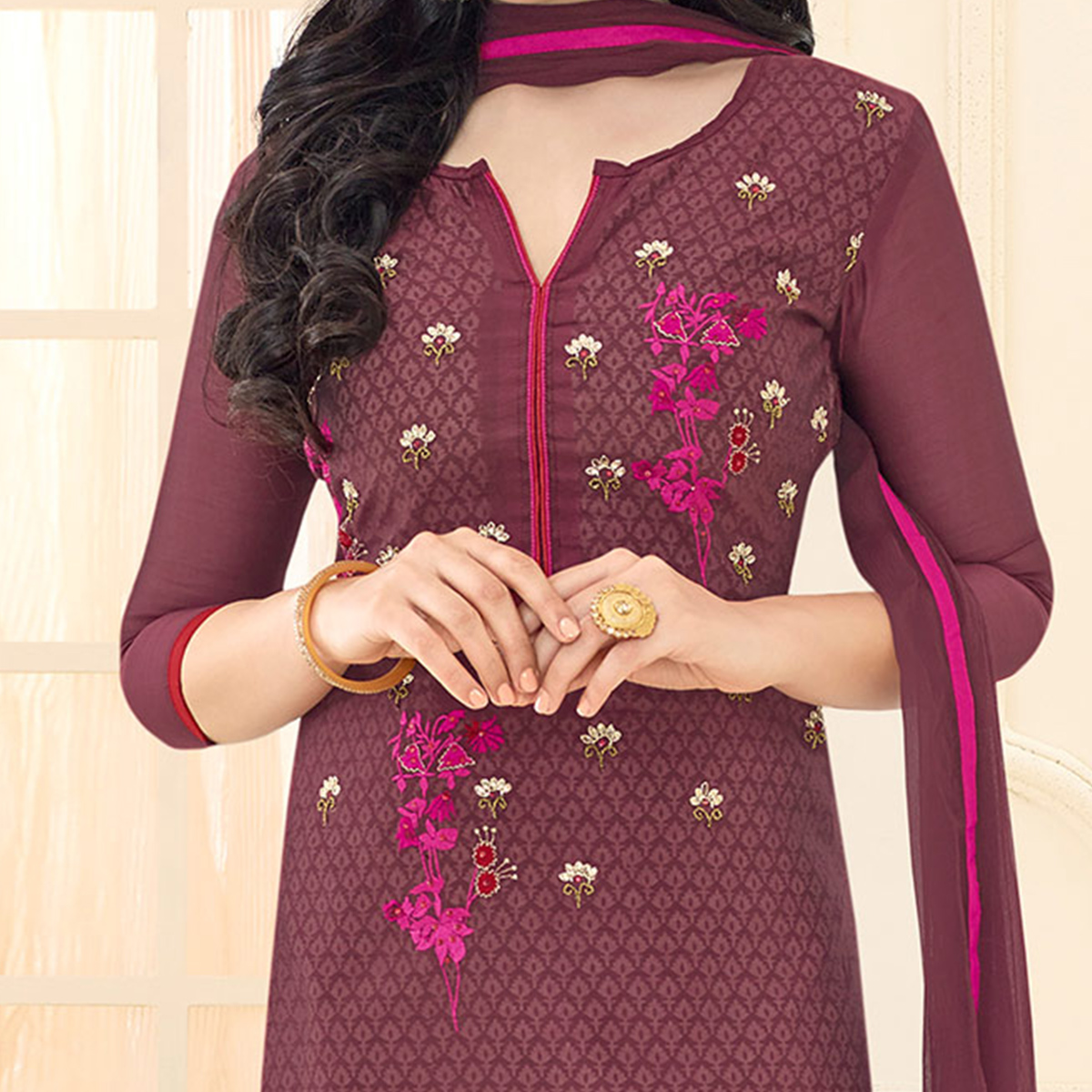 Brown Floral Embroidered Chanderi Suit