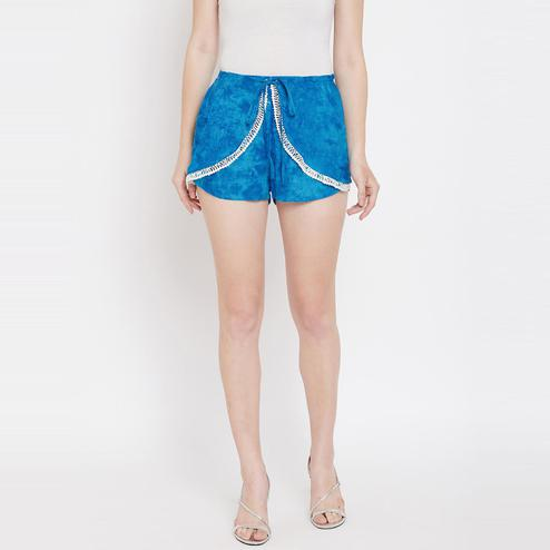 Lucero - Blue Colored Casual Lace Detaing At Bottom Double Layred Viscose Rayon Shorts