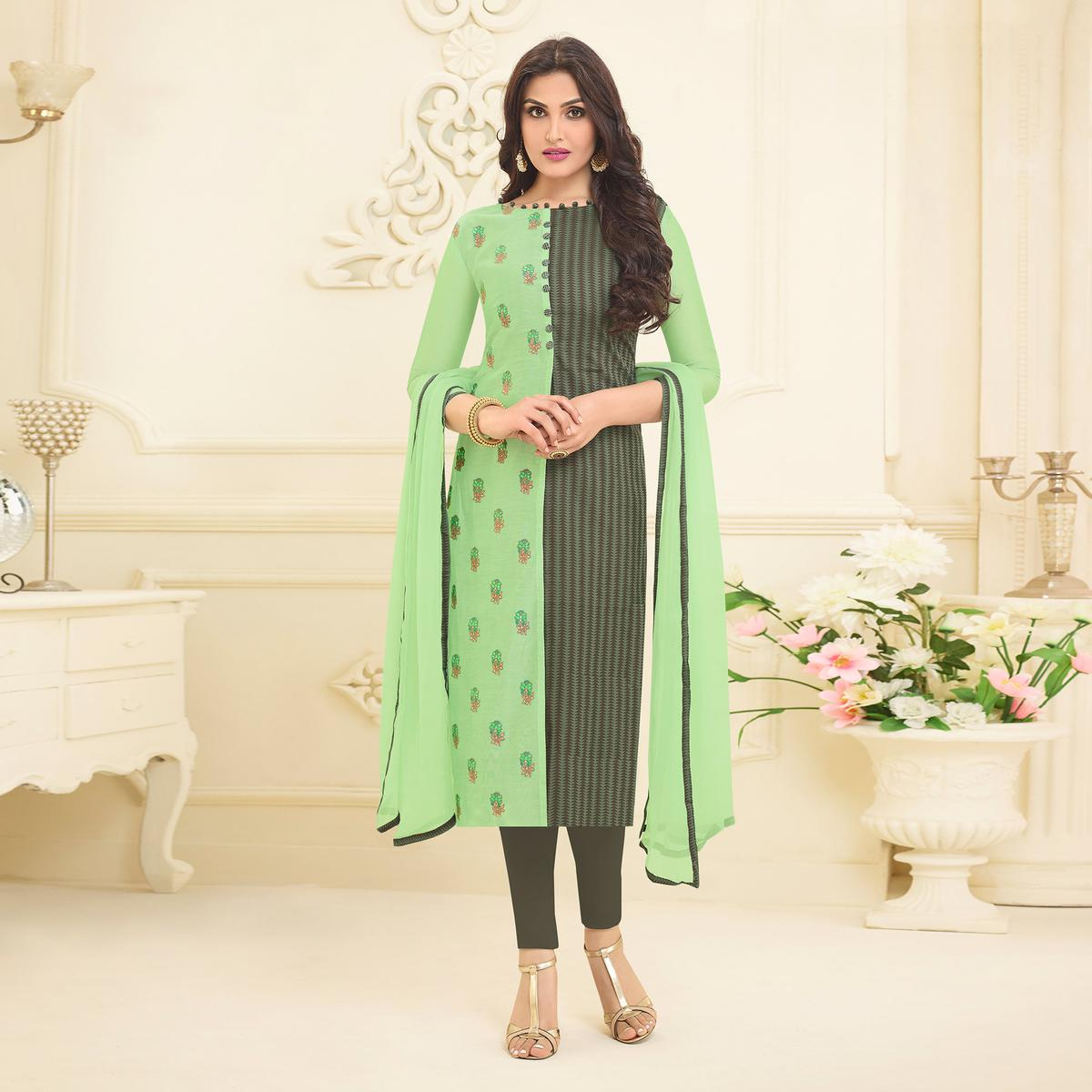 Pista Green Embroidered Designer Chanderi Suit