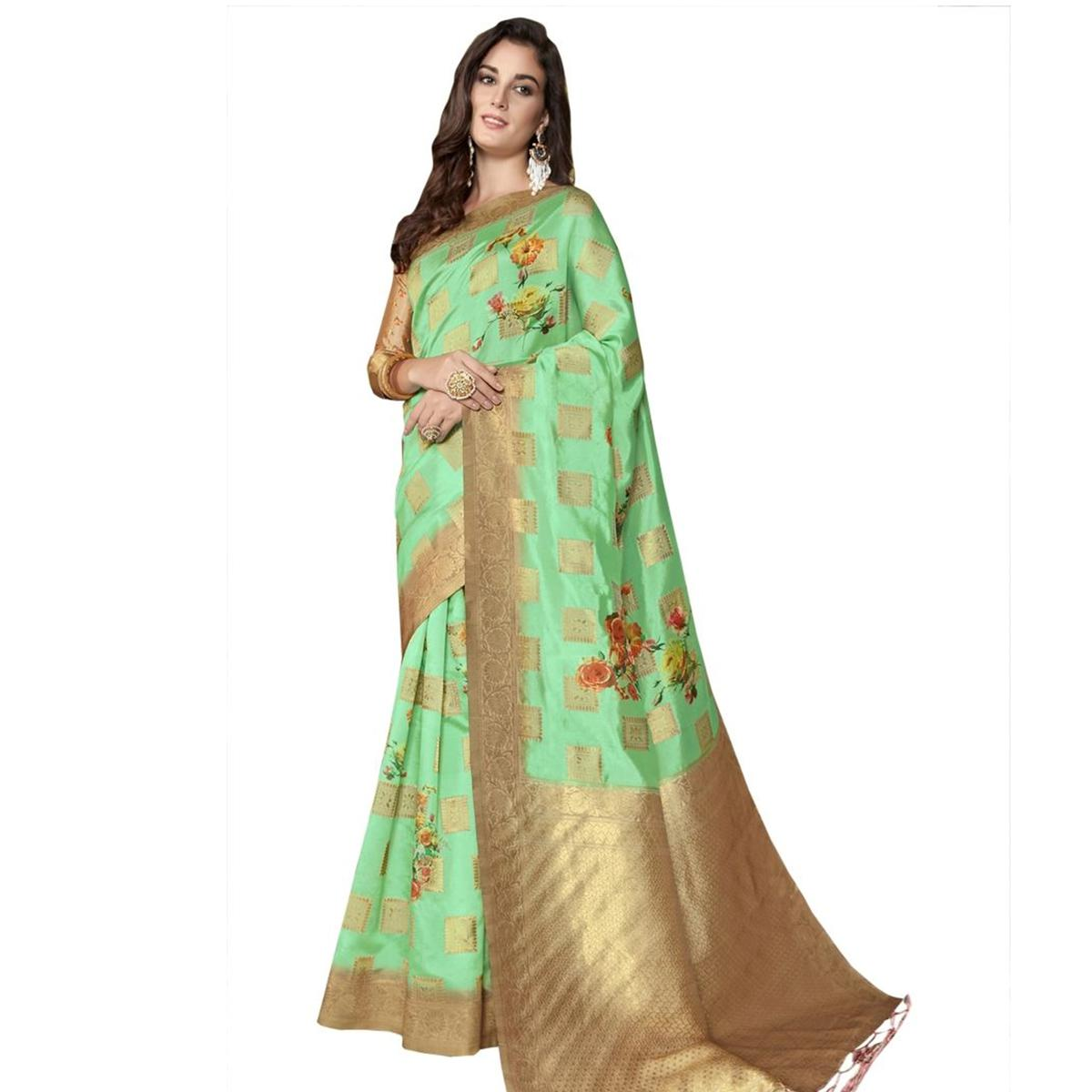 Charming Green Colored Festive Wear Woven Jacquard Silk Saree With Tassels
