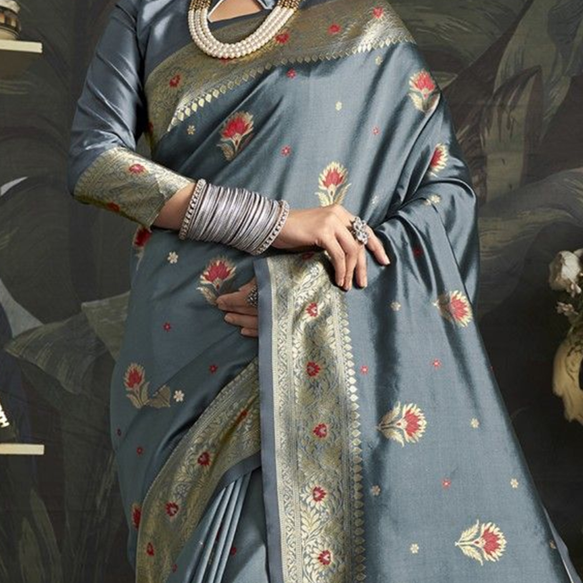 Fantastic Grey Colored Festive Wear Woven Jacquard Silk Saree With Tassels
