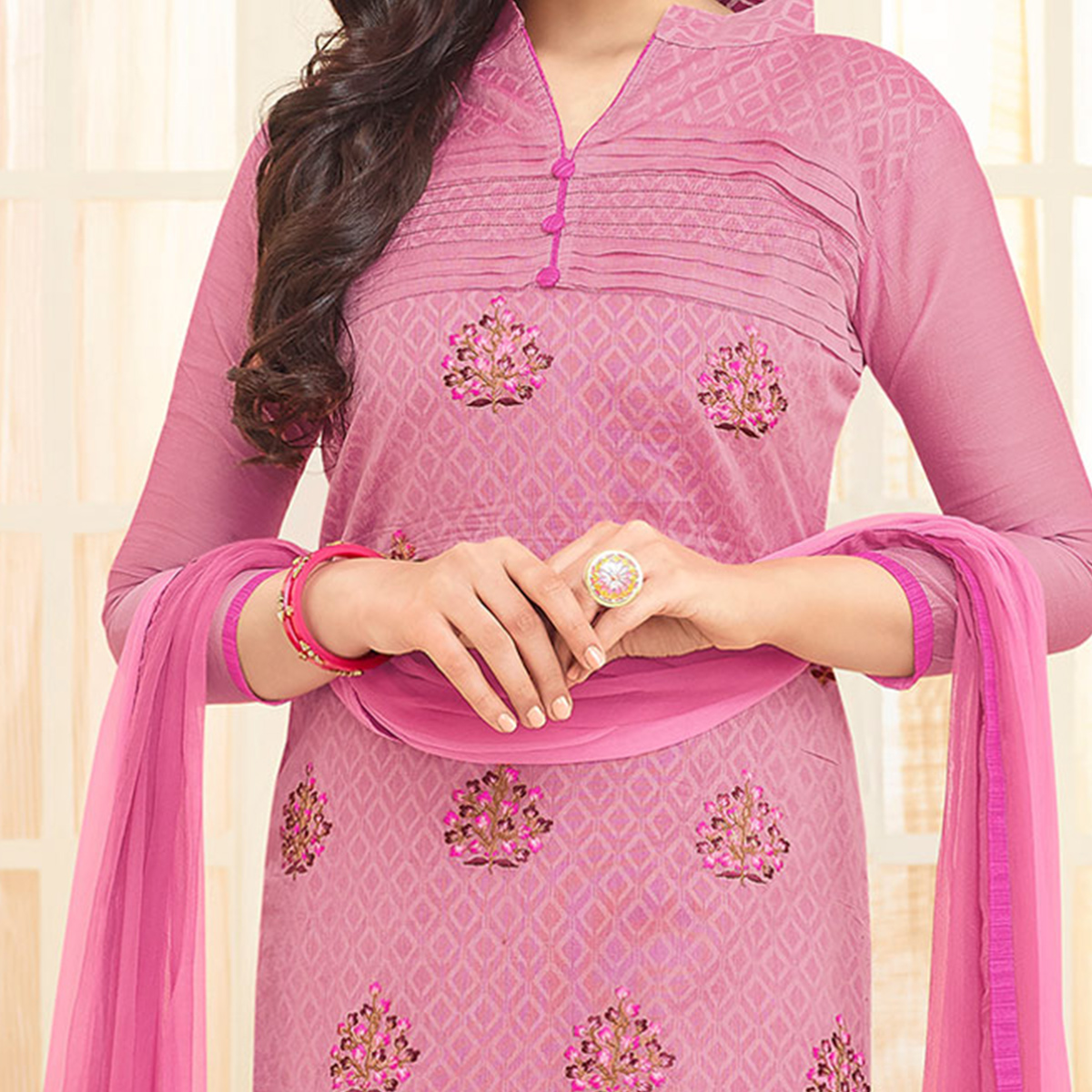 Pink Floral Embroidered Chanderi Suit