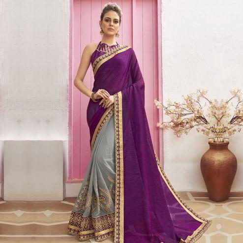 Majesty Grey-Purple Colored Party Wear Embroidered Chanderi Silk Half & Half Saree