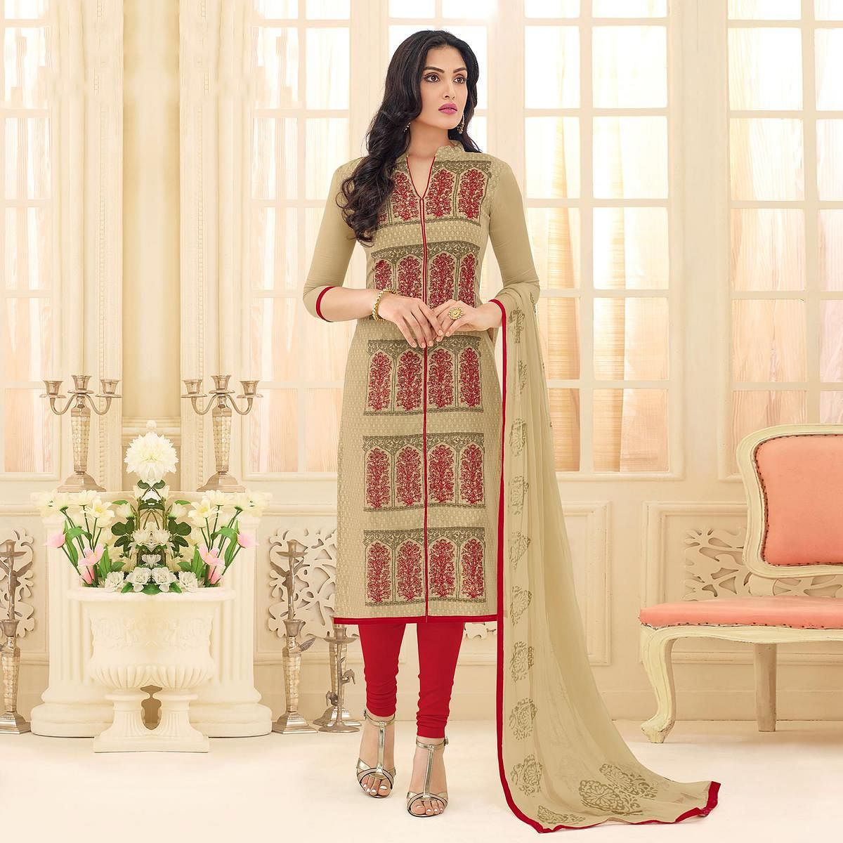 Beige - Red Embroidered Chanderi Suit