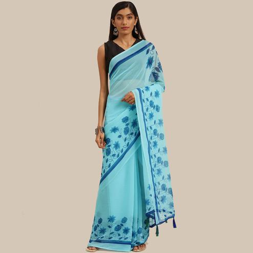 Sophisticated Blue Colored Casual Wear Printed Chiffon Saree