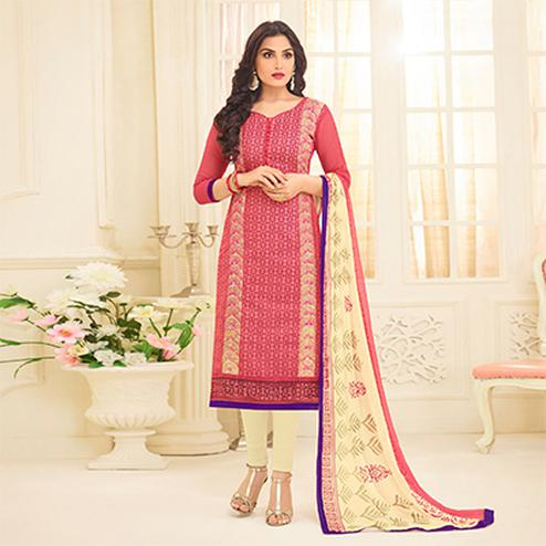 Crimson Red Embroidered Designer Chanderi Suit