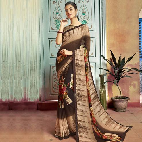 Exceptional Brown Colored Casual Wear Printed Georgette Saree
